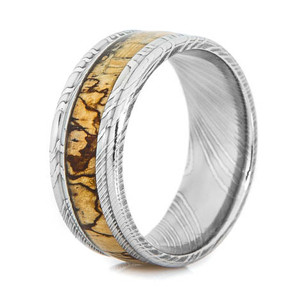 Men's Grooved Edge Damascus Steel Ring with Spalted Tamarind Inlay