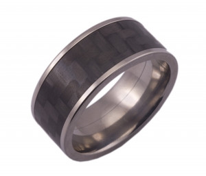 Wide Titanium Ring with Carbon Fiber Inlay