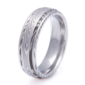 Men's Grooved Edge Zebra Pattern Damascus Steel Ring
