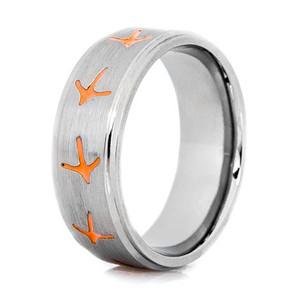 Men's Titanium Turkey Track Ring with Color