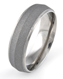 Men's Grooved Edge Titanium Sandblasted Ring with Peaked Center