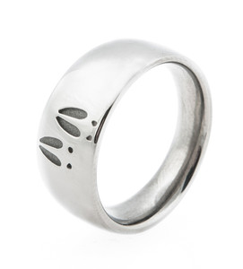 Women's Titanium Two-Print Deer Track Ring