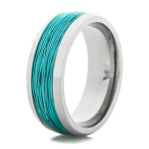 Men's Titanium Wedding Ring with Ice Blue Fishing Wire Inlay