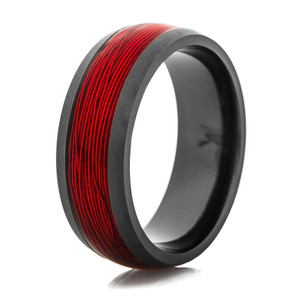 Men's Fly Fishing Ring with Black Zirconium and Red Fishing Wire Inlay