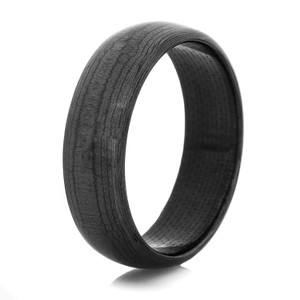 Mens Black Dome Carbon Fiber Ring