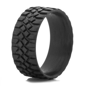 Men's Black Crawler Tread Carbon Fiber Ring