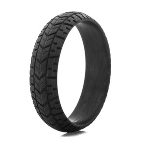 Men's Black Crusier Tread Carbon Fiber Ring