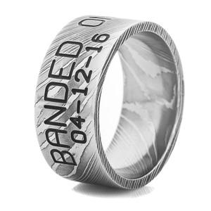 Men's Damascus Steel Duck Band Ring