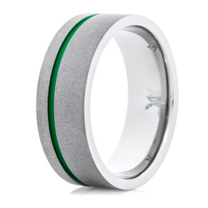 Men's Sandblasted Flat profile Titanium Ring with Offset Green Groove