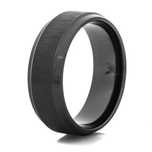 Men's Flat Profile Cross-Satin Black Wedding Band