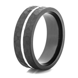 Men's Hammered Black Ring with White Stripe