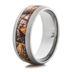 Men's Beadblasted Titanium Realtree APG Camo Ring