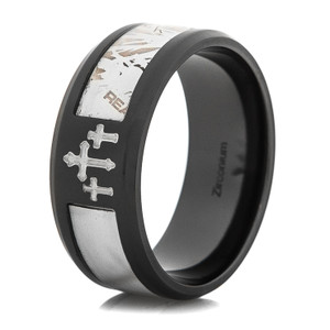 Men's Black Zirconium Camo Cross Realtree AP Snow Camo Ring