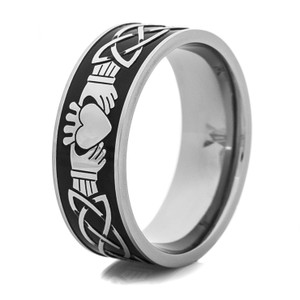 Men's Black and Silver Claddagh Ring