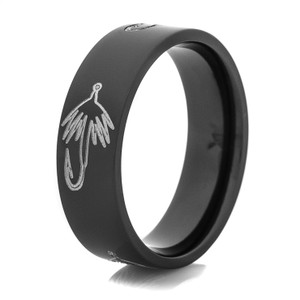 Men's Black Fly Hook Fishing Ring