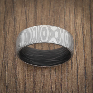 Men's 8mm Damascus Steel Eclipse Ring