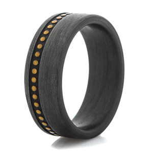 Men's Studded Leather Pattern Carbon Fiber Ring