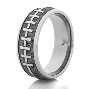 Men's Laser-Carved Titanium 3D Football Laces Ring