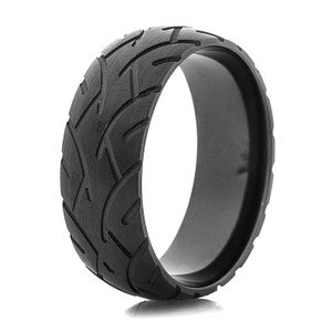 Men's Blacked Out Motorcycle Tread Ring
