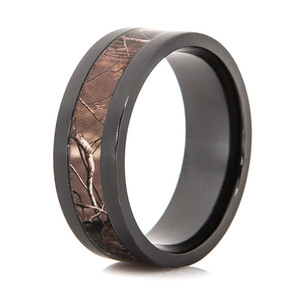 Black Zirconium Realtree Polished AP Camo Ring