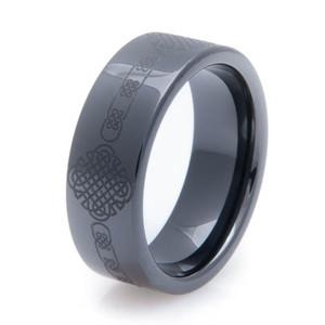 Laser Engraved Black Celtic Ring