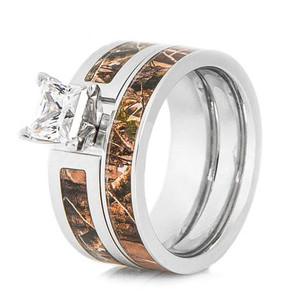 Women's Cobalt Chrome Realtree Camo Wedding Ring Set