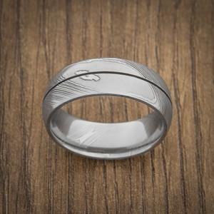 Men's Center Groove Damascus Steel Ring