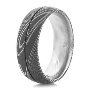 Men's Acid Finish Center Groove Damascus Steel Ring