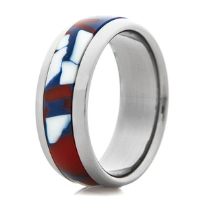 Titanium Ring with Red, White & Blue Inlay