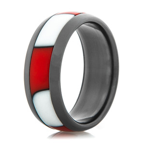 Black Zirconium Ring with Red & White Stripes