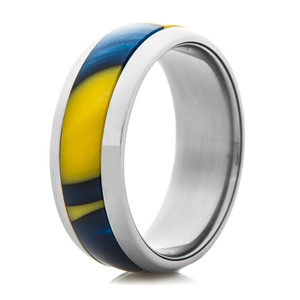Titanium Ring with Maize and Blue Inlay