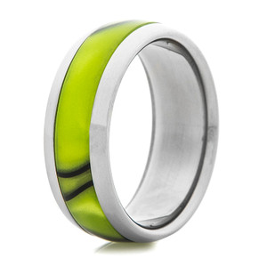 Titanium Ring with Electric Yellow Inlay