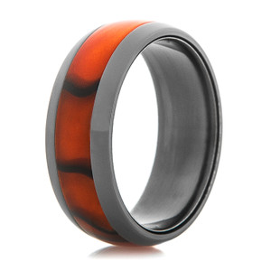 Black Zirconium Ring with Burnt Orange Inlay