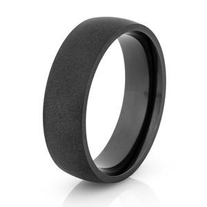 Men's Flat Black Dome Profile Wedding Ring