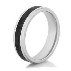 Men's Narrow Carbon Fiber Grooved Edge Ring