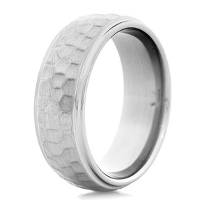 Men's Hammered Titanium Ring with Grooved Edges