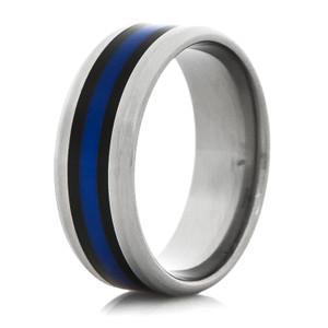 Titanium Thin Blue Ring with Beveled Edge