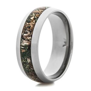Men's Titanium Realtree Xtra Green Camo Ring