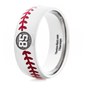 Men's Titanium Baseball Ring With Jersey Number
