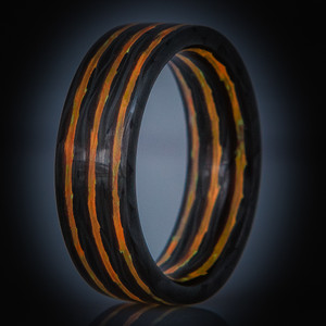 Carbon Fiber Fire Glow Ring- Aurora