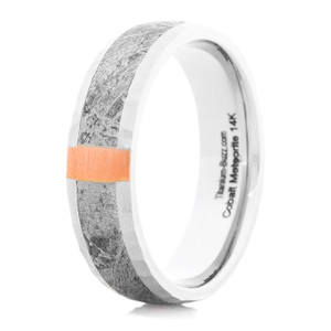 Men's Meteorite Ring with Vertical 14K Rose Gold Inlay