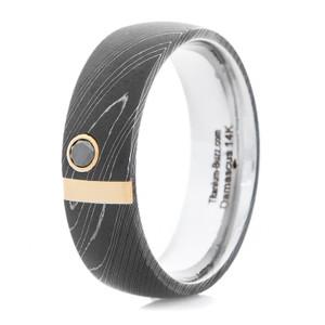 Men's Acid Finish Damascus Ring with Black Diamond and Rose Gold Bar