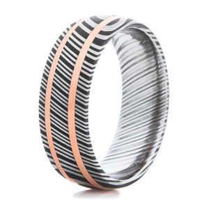 Men's Striped Damascus Steel Ring with Dual Copper Inlays