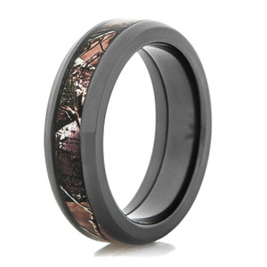 Beveled Edge Black Zirconium Camo Ring