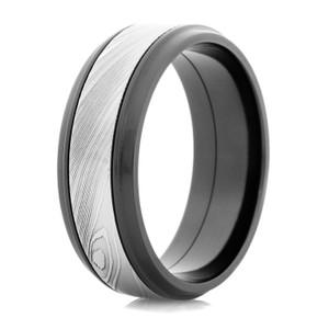 Men's Black Zirconium Ring with Acid Finished Damascus