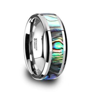 Men's Tungsten Carbide Ring with Mother of Pearl Inlay