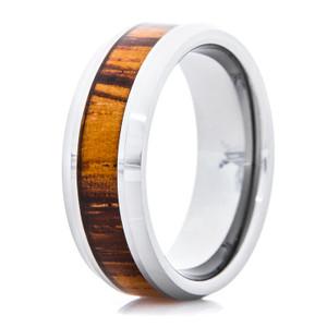Men's Polished Titanium Ring with Zebra Wood Inlay and Beveled Edge