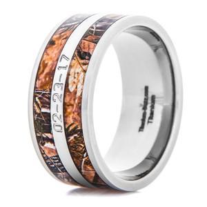 Men's Titanium Realtree AP Camo Ring with Custom Date