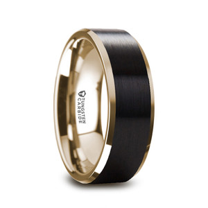 Men's Gold Plated Tungsten Ring with Beveled Edges and Brushed Center