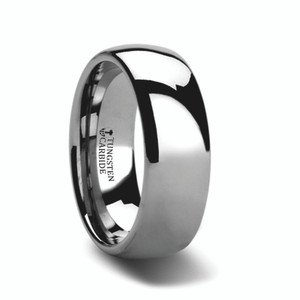 Men's Domed Tungsten Carbide Ring with Polished Finish